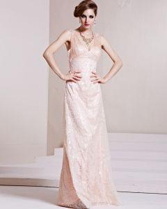 Art Und Weise Paillette Gaze Charmeuse Perlen V-ausschnitt Ärmellos Bodenlangen Abendkleid
