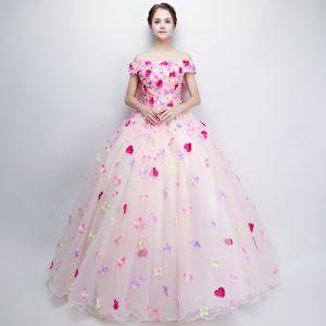 Fée Des Fleurs Perle Rose Robe De Bal 2018 Robe Boule De l'épaule Manches Courtes Appliques Fleur Dos Nu Noeud Longue Volants Robe De Ceremonie