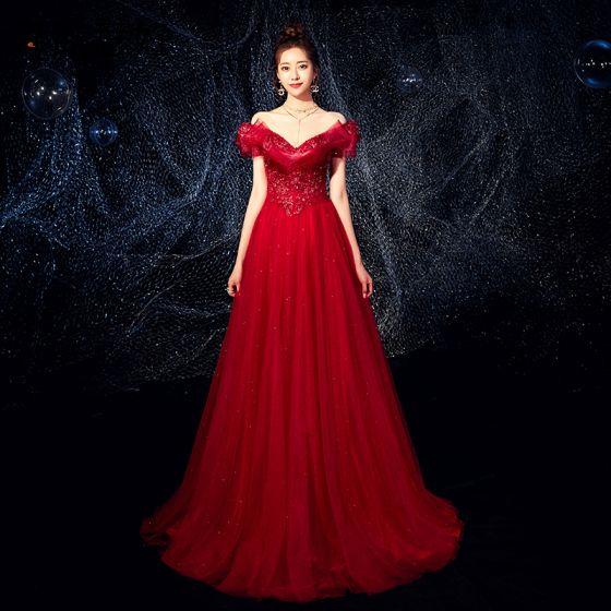 Uroczy Burgund Sukienki Wieczorowe 2019 Princessa Przy Ramieniu Frezowanie Cekiny Kryształ Aplikacje Z Koronki Kwiat Kótkie Rękawy Bez Pleców Długie Sukienki Wizytowe