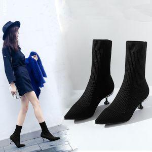 Fine Svart Casual Kvinners støvler 2019 Polyester 6 cm Stiletthæler Spisse Boots
