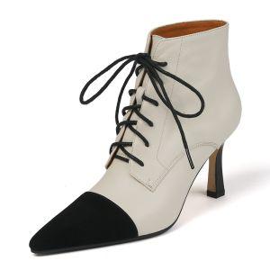 Hermoso Beige Casual Dos colores Botas de mujer 2020 Cuero 8 cm Stilettos / Tacones De Aguja Punta Estrecha Botas