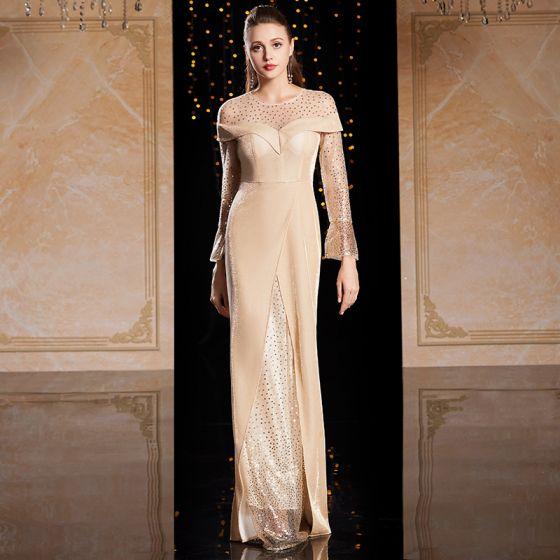 Mode Champagne Guld Velour Vinter Aftonklänningar 2020 Trumpet / Sjöjungfru Genomskinliga Urringning Långärmad Paljetter Långa Ruffle Formella Klänningar