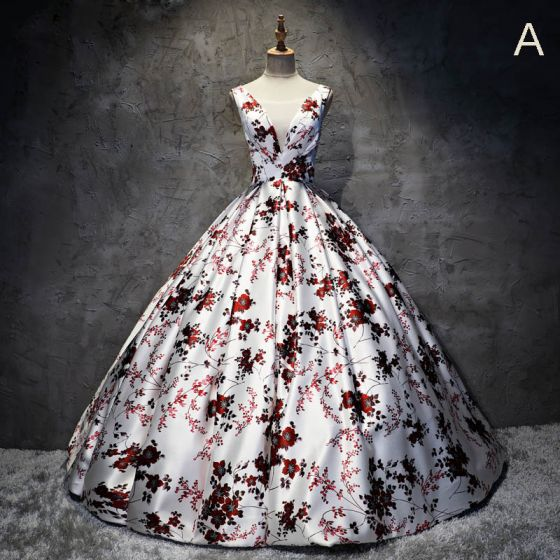 Chic / Beautiful White Prom Dresses 2017 A-Line / Princess V-Neck Appliques Backless Printing Evening Party Formal Dresses
