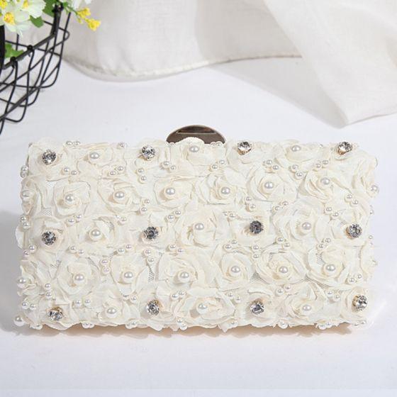 Blumenfee Weiß Perlenstickerei Perle Kristall Cocktail Abend Clutch Tasche 2018