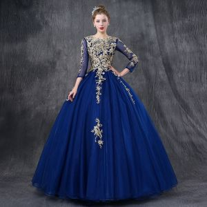Chic / Beautiful Royal Blue Prom Dresses 2018 Ball Gown Lace Appliques Pearl Sequins Scoop Neck Backless 3/4 Sleeve Floor-Length / Long Formal Dresses