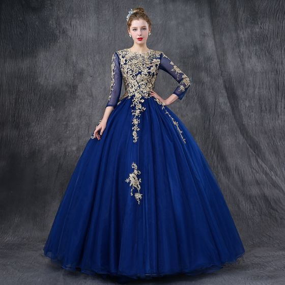 Chic / Beautiful Royal Blue Prom Dresses 2018 Ball Gown Lace ...