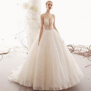Bling Bling Champagne Bröllopsklänningar 2019 Prinsessa Spaghettiband  Ärmlös Halterneck Beading Glittriga   Glitter Tyll Domstol Tåg b0b1b189e440e