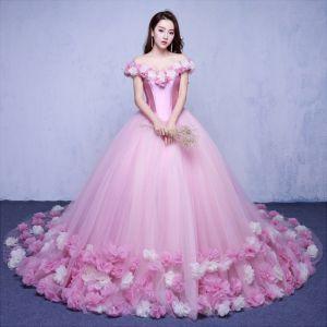 Elegante Candy Roze Trouwjurken 2018 Baljurk Appliques Uit De Schouder Ruglooze Korte Mouwen Chapel Train Huwelijk