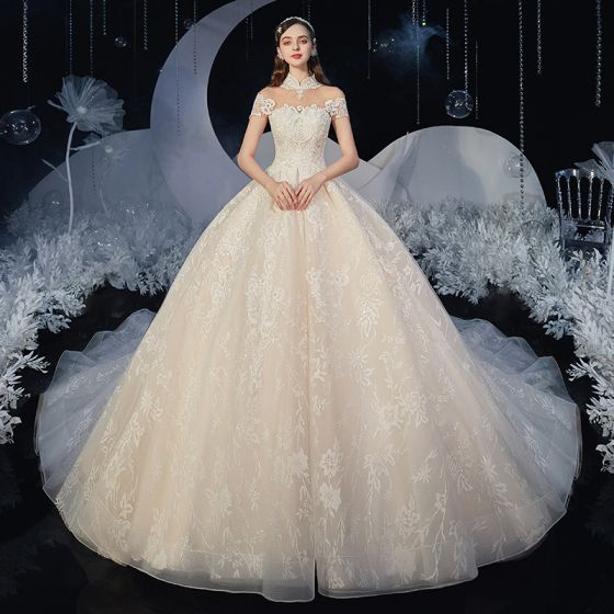 Chinese style Champagne Bridal Wedding Dresses 2020 Ball Gown See-through High Neck Sleeveless Backless Appliques Lace Glitter Tulle Chapel Train Ruffle
