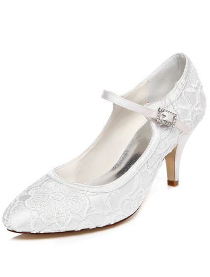 Vintage Wedding Shoes 3 Inch Stiletto Heel Pumps White Bridal With Ankle Strap