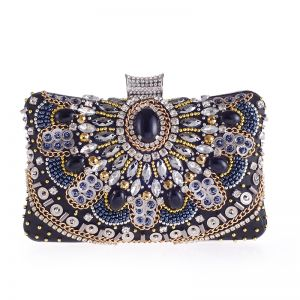 Chic / Beautiful Black Square Clutch Bags 2020 Metal Rhinestone Beading