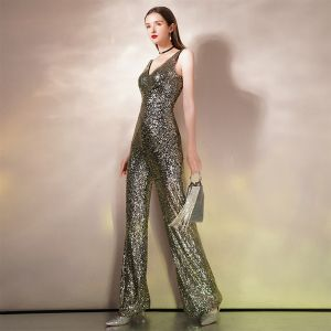 Sparkly Gold Sequins Jumpsuit 2020 Trumpet / Mermaid Deep V-Neck Sleeveless Floor-Length / Long Backless Evening Dresses
