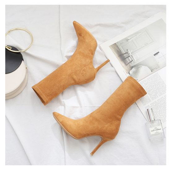 Classy Tan Street Wear Womens Boots 2020 Suede 9 cm Stiletto Heels Pointed Toe Boots