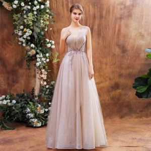 Charming Blushing Pink Evening Dresses  2020 A-Line / Princess Deep V-Neck Sleeveless Sequins Beading Glitter Tulle Sweep Train Ruffle Backless Formal Dresses