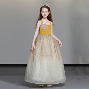 Chic / Beautiful Yellow Flower Girl Dresses 2019 A-Line / Princess Shoulders Sleeveless Beading Glitter Tulle Floor-Length / Long Ruffle Backless Wedding Party Dresses