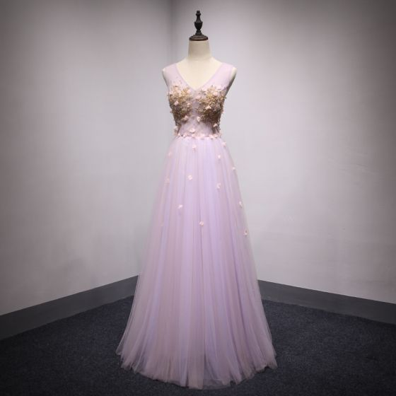 Elegant Lilac Prom Dresses 2018 A-Line / Princess Appliques Beading Sequins V-Neck Backless Sleeveless Floor-Length / Long Formal Dresses