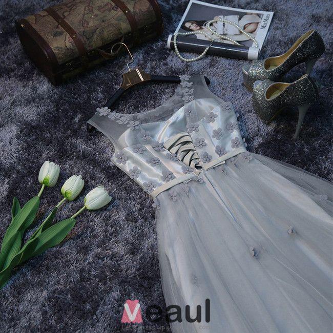 Charmante Robe De Soirée Longue Robe De Ceremonie Dos Nu Gris Avec Des Fleurs Pour 2016