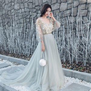 Elegant Grey Prom Dresses 2017 A-Line / Princess V-Neck Long Sleeve Appliques Flower Embroidered Beading Sash Chapel Train Backless Formal Dresses