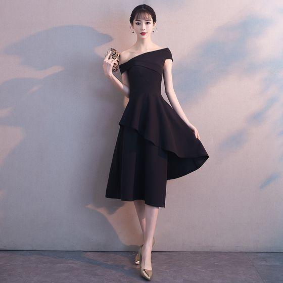 e2857534e Único Negro de fiesta Vestidos de graduación 2018 A-Line   Princess Fuera  Del Hombro Manga Corta Asimétrico Ruffle Sin Espalda Vestidos Formales