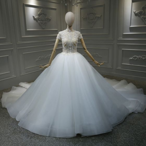 Vintage / Retro White Bridal Wedding Dresses 2020 Ball Gown See-through High Neck Short Sleeve Handmade  Beading Cathedral Train
