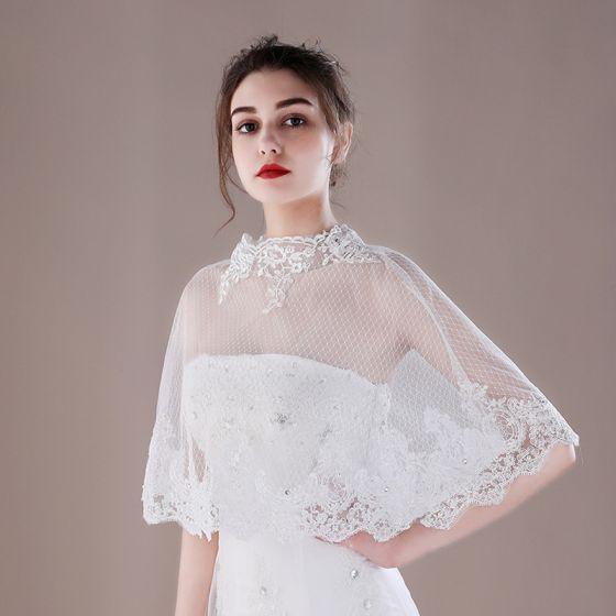 White Lace-up Tulle Scoop Neck Wedding Shawls 2017