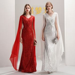 Sparkly Sequins Evening Dresses  2020 Trumpet / Mermaid V-Neck Sleeveless Floor-Length / Long Formal Dresses