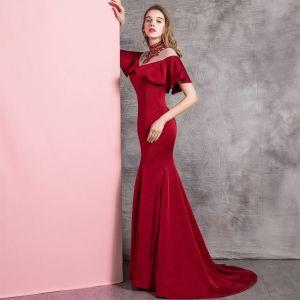 Chic / Beautiful Burgundy Evening Dresses  2019 Trumpet / Mermaid High Neck Beading Crystal Short Sleeve Sweep Train Formal Dresses