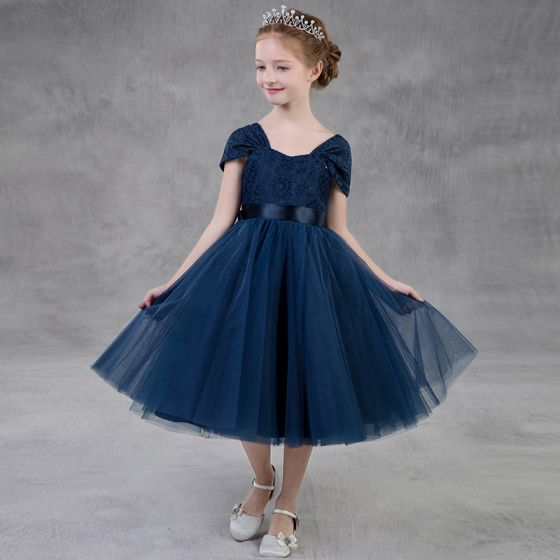 Modest / Simple Navy Blue Flower Girl Dresses 2018 A-Line / Princess Square Neckline Cap Sleeves Bow Sash Backless Tea-length Ruffle Wedding Party Dresses