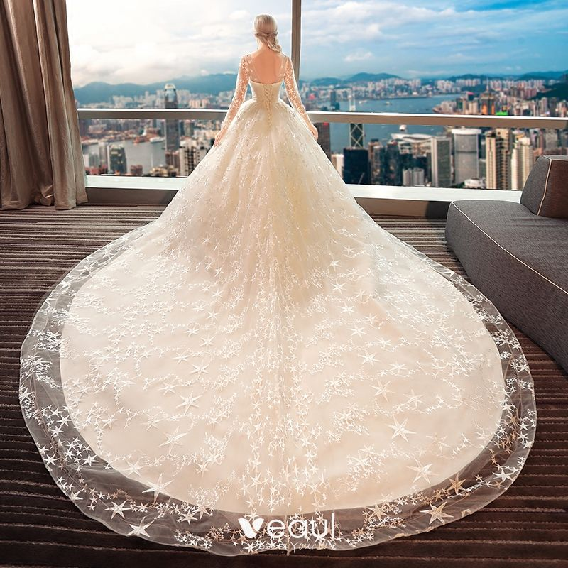 Chic / Beautiful Ivory Pierced Wedding Dresses 2017 Ball Gown Scoop Neck Long Sleeve Backless Star Cathedral Train