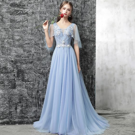 Chic / Beautiful Sky Blue Evening Dresses  2017 A-Line / Princess V-Neck 1/2 Sleeves Appliques Flower Beading Sequins Court Train Ruffle Backless Formal Dresses