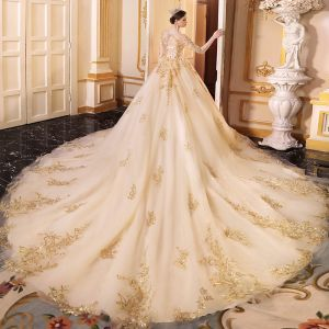 Luxury / Gorgeous Champagne See-through Wedding Dresses 2019 A-Line / Princess V-Neck 3/4 Sleeve Backless Appliques Lace Beading Sequins Glitter Tulle Cathedral Train Ruffle