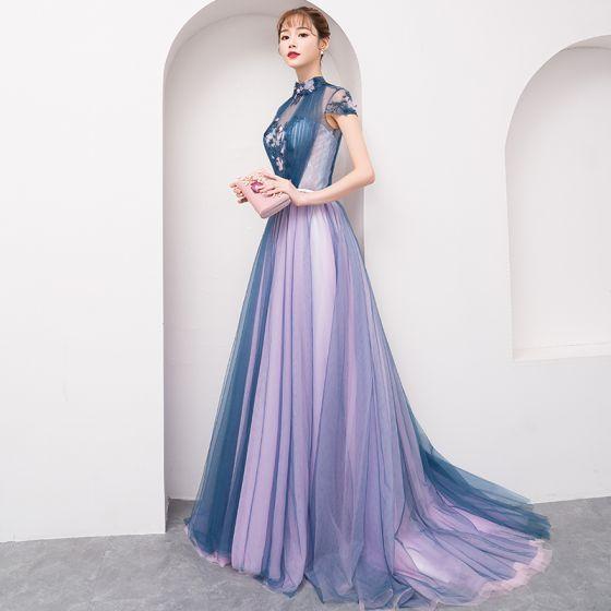 011adf7a4 Moda Espliego Vestidos de noche 2018 A-Line   Princess Apliques Rebordear  Crystal Bowknot Cuello Alto Sin Espalda Manga Corta Colas ...