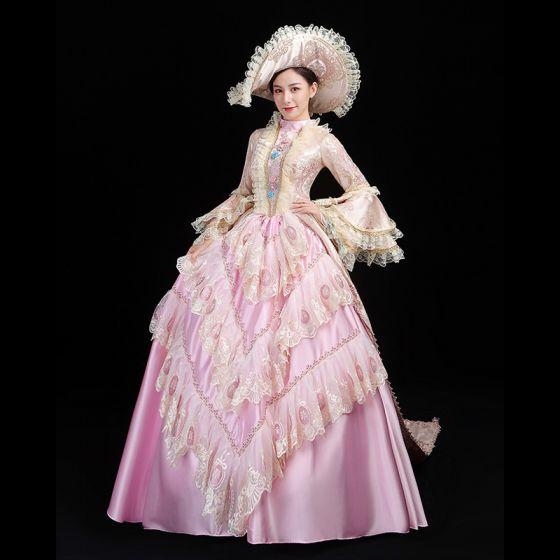 Vintage Medeltida Godis Rosa Balklänning Balklänningar 2021 Hög Hals Långärmad Långa 3D Spets Appliqués Broderade Handgjort Cosplay Bal Formella Klänningar