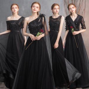 Erschwinglich Schwarz Brautjungfernkleider 2020 A Linie Applikationen Spitze Stoffgürtel Lange Rüschen Kleider Für Hochzeit