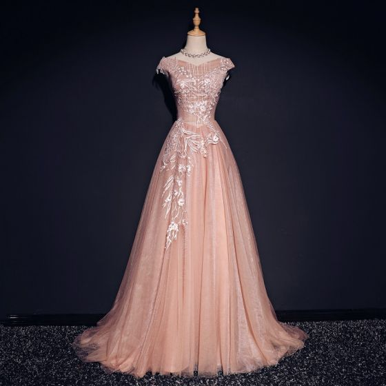 Chic / Beautiful Pearl Pink Evening Dresses  2017 A-Line / Princess V-Neck Sleeveless Appliques Lace Sweep Train Ruffle Backless Formal Dresses