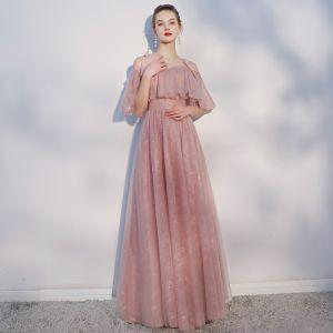 Schöne Freizeit Pearl Rosa Abendkleider 2018 A Linie Spaghettiträger Rückenfreies Kurze Ärmel Lange Festliche Kleider