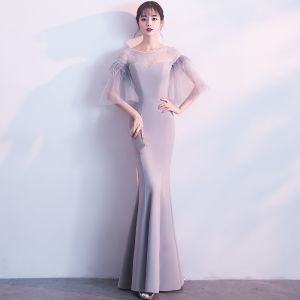 Modern / Fashion Grey See-through Evening Dresses  2018 Trumpet / Mermaid Scoop Neck 3/4 Sleeve Feather Floor-Length / Long Backless Formal Dresses