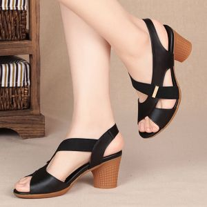 Affordable Black Casual Womens Sandals 2020 6 cm Thick Heels Open / Peep Toe Sandals