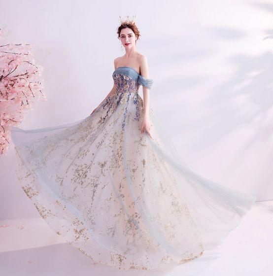 Charming Sage Green Glitter Prom Dresses 2020 A-Line / Princess Off-The-Shoulder Sequins Sleeveless Backless Floor-Length / Long Formal Dresses