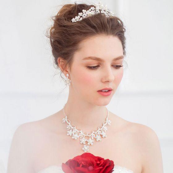 Bruids Kroon Ketting Oorbellen Drie-delige Trouwjurk Accessoires