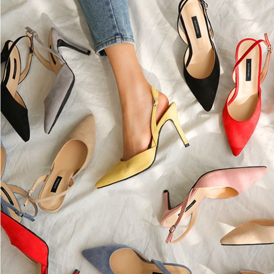 Modest / Simple Yellow Casual Suede Womens Shoes 2020 10 cm Stiletto Heels Pointed Toe Heels