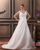 Satin V Neck Applique Court Plus Size Bridal Gown Wedding Dresses