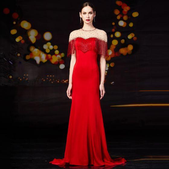 High End Rot Durchsichtige Abendkleider 2020 Meerjungfrau Rundhalsausschnitt Kurze Ärmel Strass Perlenstickerei Quaste Sweep / Pinsel Zug Festliche Kleider