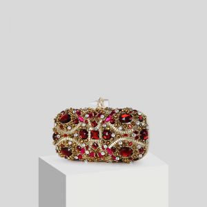 Chic / Beautiful Red Rhinestone Gold Patent Leather Clutch Bags 2019