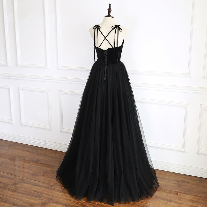 Modest / Simple Black Prom Dresses 2019 A-Line / Princess Spaghetti Straps Beading Sleeveless Backless Bow Floor-Length / Long Formal Dresses