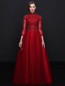 Elegant Cheongsam Improved Evening Dresses 2017 High Neck Sequins Burgundy Tulle Occasion Dress