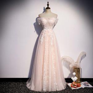 Elegant Rødmende Rosa Selskapskjoler 2020 Prinsesse Av Skulderen Perle Paljetter Appliques Uten Ermer Ryggløse Lange Formelle Kjoler