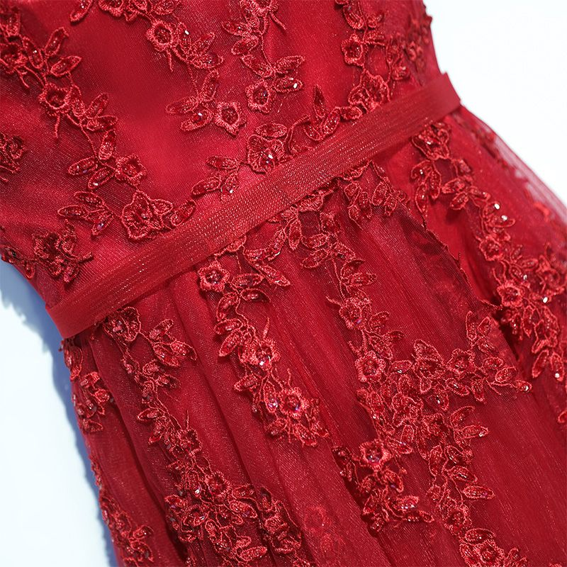 Chic / Beautiful Red Formal Dresses Evening Dresses  2017 Lace Flower V-Neck Sleeveless A-Line / Princess