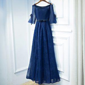 Elegante Marineblau Abendkleider 2017 Spitze Blumen Pailletten Rundhalsausschnitt 3/4 Ärmel Knöchellänge Empire Festliche Kleider