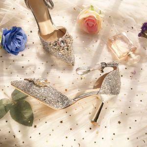 Charmant Argenté Demoiselle D'honneur Mariage Talons Hauts 2019 Bride Cheville Paillettes Faux Diamant 8 cm Talons Aiguilles À Bout Pointu Chaussure De Mariée